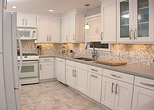 Kitchen Tile Backsplashes Ideas For White Cabinets You Can Use For Decorating Your Kitchen Blue Glass Large Wall Tile Backsplash For White Cabinets Ideas