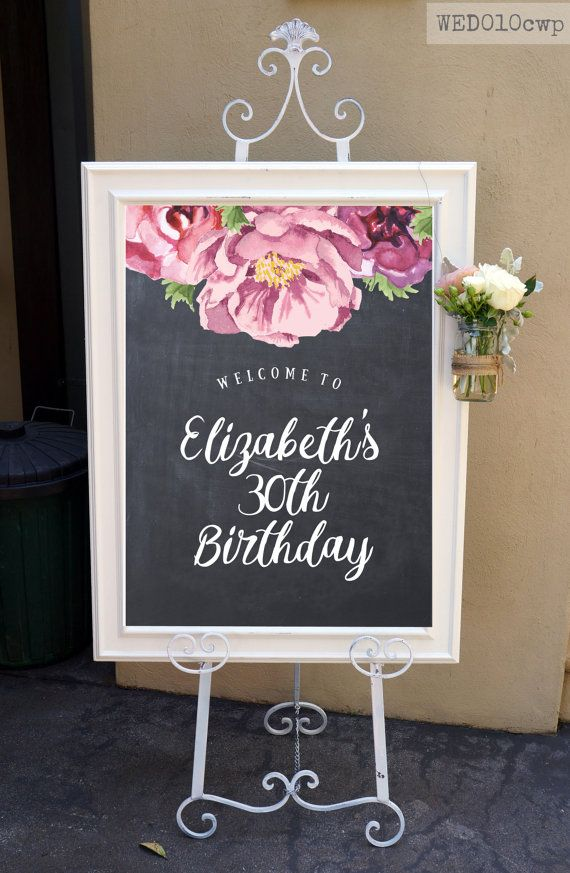 Peony Chalkboard Welcome Sign / Printable Brush Calligraphy Birthday Sign / Custom Sign Banner for Easel Rustic Boho Vintage Pink Peonies