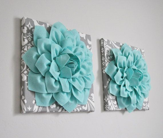 TWO Wall Flowers  Aqua Dahlia on Grey and White Damask by bedbuggs