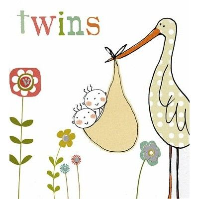 To celebrate the arrival of baby Twins, illustrated with a stork and metallic silver detail - priced at £2.15