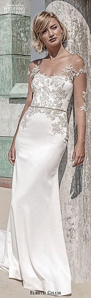 elbeth gillis 2016 bridal off the shoulder embroidery lace strap sweetheart neckline embroideried bodice emily elegant sheath wedding dress #sheathweddingdress