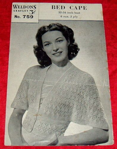 "Weldons 3 Ply Vintage Knitting Pattern Bed Cape 1950's Jacket 32"" to 34"" 