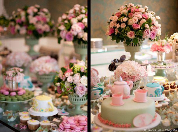 decoracao mesa de doces cha de cozinha cor de rosa