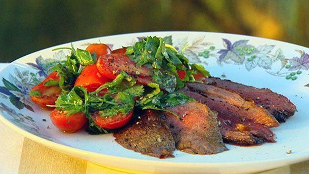 BBQ butterflied leg of lamb with herb salsa
