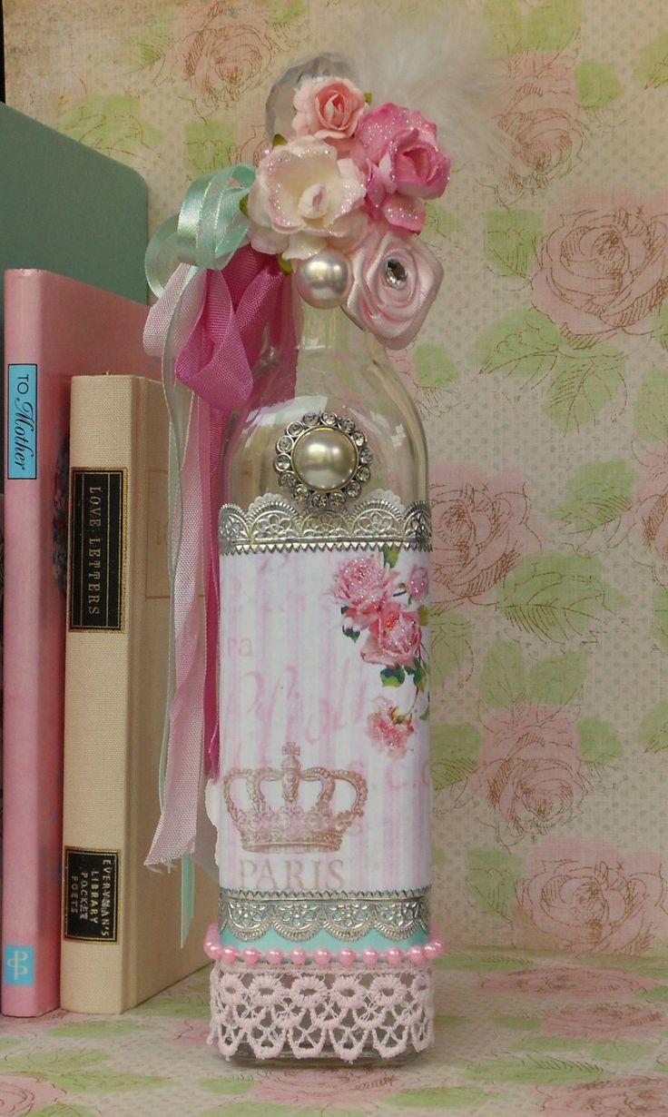 Botella decorada al estilo romantico shabby chic, hermosa!