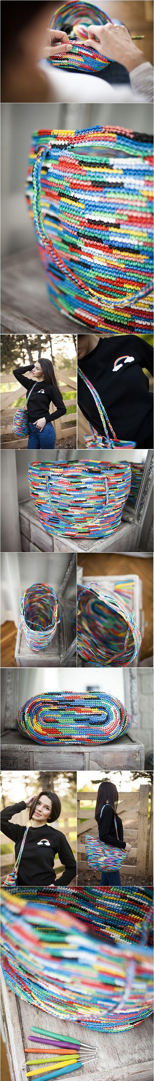 rainbow bag, plarn crochet tote, summer bag, upcycling, recycling, market bags
