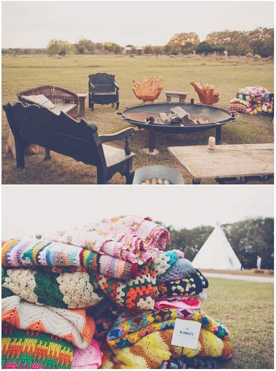 campfire, benches, chairs and blankets