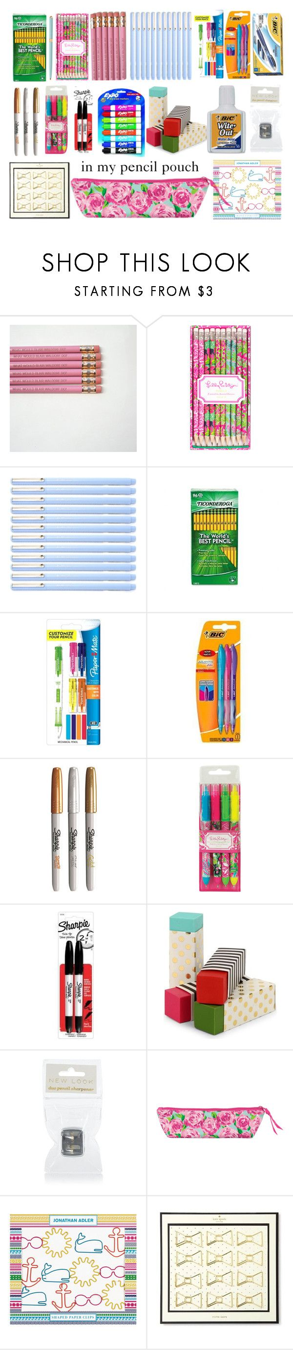 """""""In My Pencil Pouch"""" by sweetprep101 ❤ liked on Polyvore featuring Lilly Pulitzer, Dixon Ticonderoga, Paper Mate, Sharpie, Kate Spade and Jonathan Adler"""