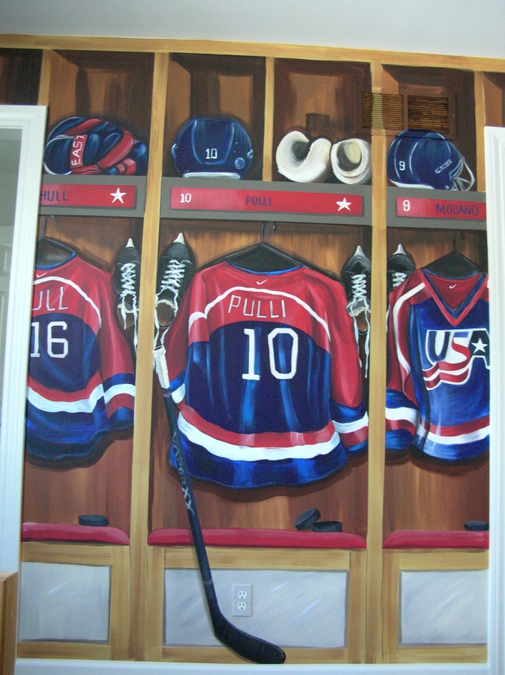 Hockey lockers in a Team USA themed room. Personalized jersey.