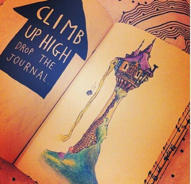 Wreck this journal, climb up high drop the journal, tangled, rapunzel inspired.....♥