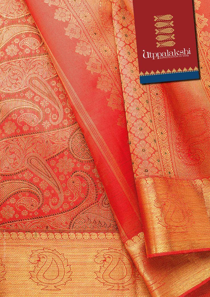Absolutely stunning!! Red bridal saree with auspicious mango motifs all over. Steal the show. #Utppalakshi #Sareeoftheday#Silksaree#Kancheevaramsilksaree#Kanchipuramsilks #Ethinc#Indian #traditional #dress#wedding #silk #saree#craftsmanship #weaving#Chennai #boutique #vibrant#exquisit #pure #weddingsaree#sareedesign #colorful #elite