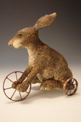 American Chestnut Carvings :: Tricycle Bunny :: Peter Bretz Americana Carvings