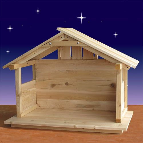 """Wood Nativity Stable - Outdoor - 30"""" High"""