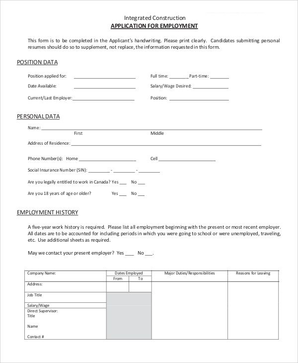 9 Sample Employment Applications Sample Templates Within