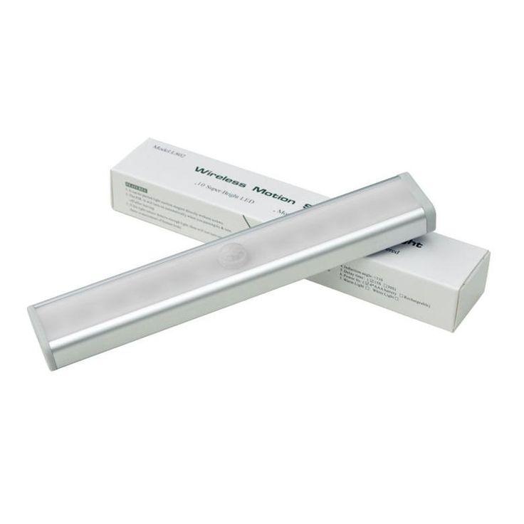 LED Closet Light Roukos Rechargble Nigth Light 10 LED Infrared Motion Sensor  Cabinet Light DIY Stick On Anywhere Needs 4 Pieces 7# Batteries