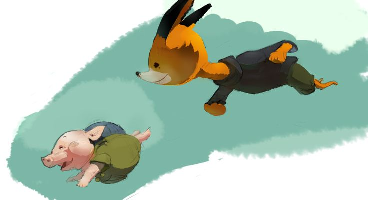 "Sketch nº31. Pig and Fox from ""The Dam  Keeper"""