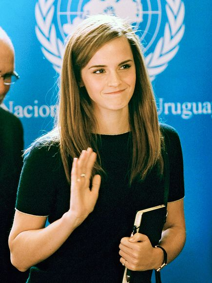 DO-GOODER | She comes in peace! UN Women Goodwill Ambassador Emma Watson arrives at the presentation of the UN Women's HeForShe campaign for gender equality in Montevideo, Uruguay, on Wednesday.