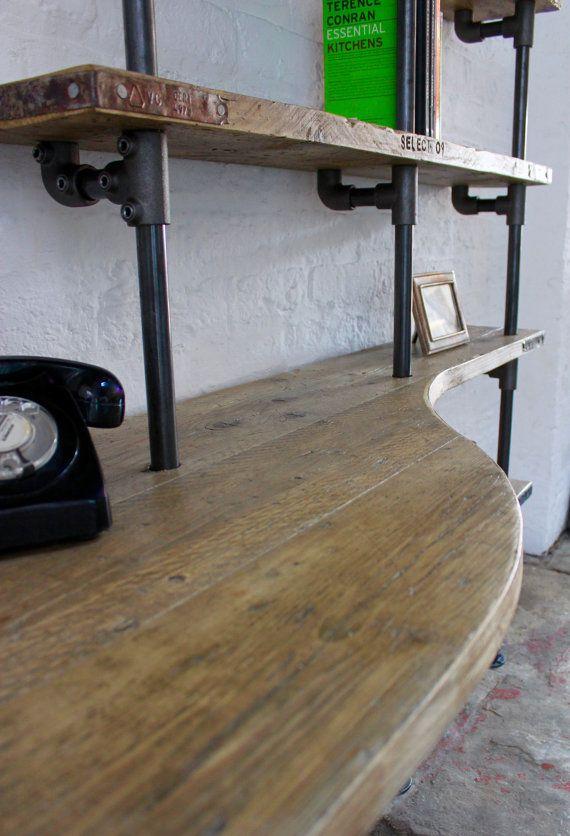 Brooks Reclaimed Scaffolding Board Curved Desk and Shelf Unit