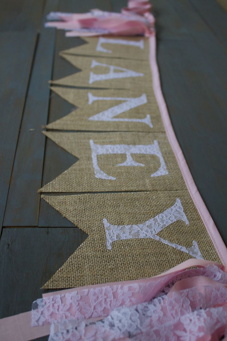 Gold and pink burlap banner with lace letters, for a nursery, first birthday party, or photo prop, by MsRogersNeighborhood etsy shop