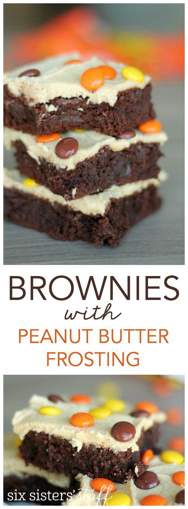 Fudgy Brownies with Peanut Butter Frosting from SixSistersStuff.com. These are my new favorite brownie!