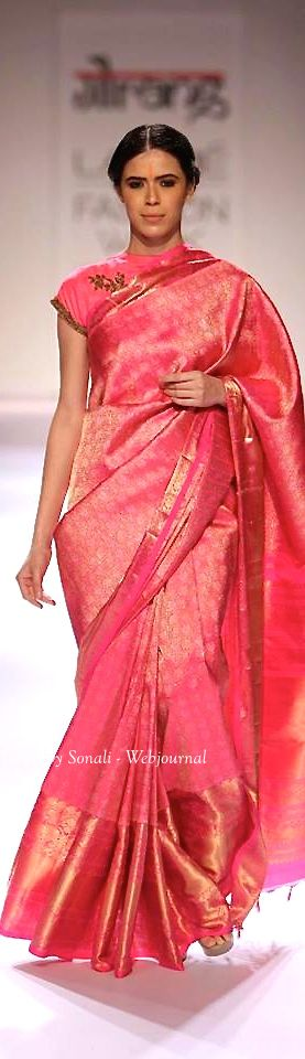 Pink silk saree by Gaurang Shah at Lakme Fashion Week Winter 2014