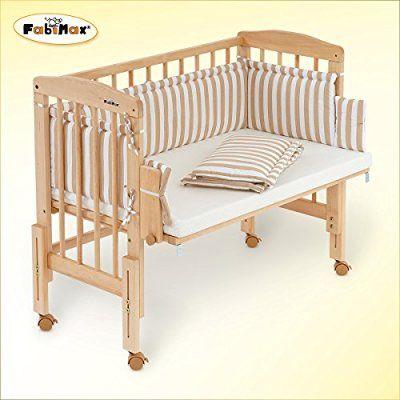 FabiMax bedside cot PRO, mattress CLASSIC and bumper Betty beige