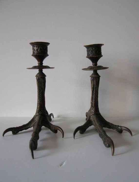 Pair of Antique Bronze Bird Feet Candle Holders