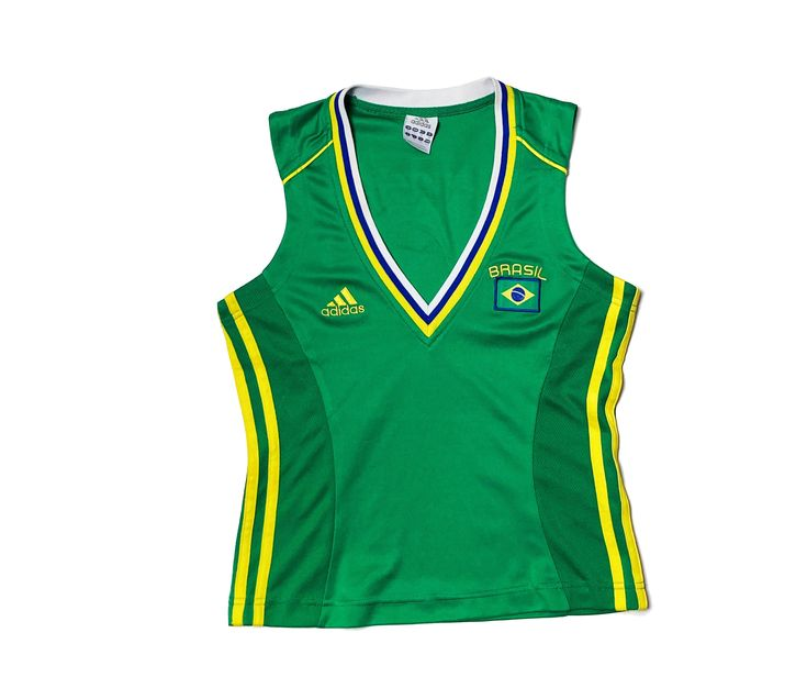 ADIDAS Brazil Vest Top Sleeveless Y2K Green Yellow Number 10 ...
