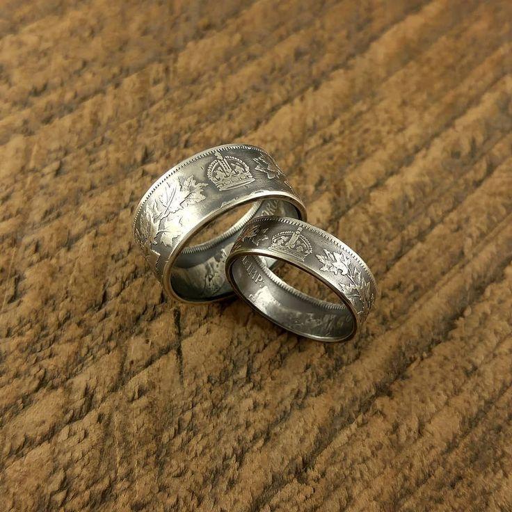 カナダの希少な1910年代の50セント銀貨と25セント銀貨によるペアコインリングです 画像では確認出来ませんがデザイン的にリング裏側にもクラウンが残るダブルクラウン仕様となります #coinring #coinjewelry #pairing #pair #love #couple #marriage #bridal #ring #crown #canada #silvercoin #silver925 #japan #tokyo #shibuya #yoyogi