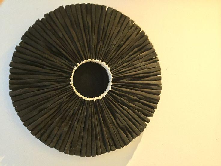 WELLFIRE by David Roach Charred Cedar, rubber, oil, wax pigment.                                                 50 cm diameter x 12 cm deep $2,200