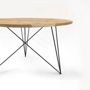 NUTSANDWOODS Oak Steel Table Round