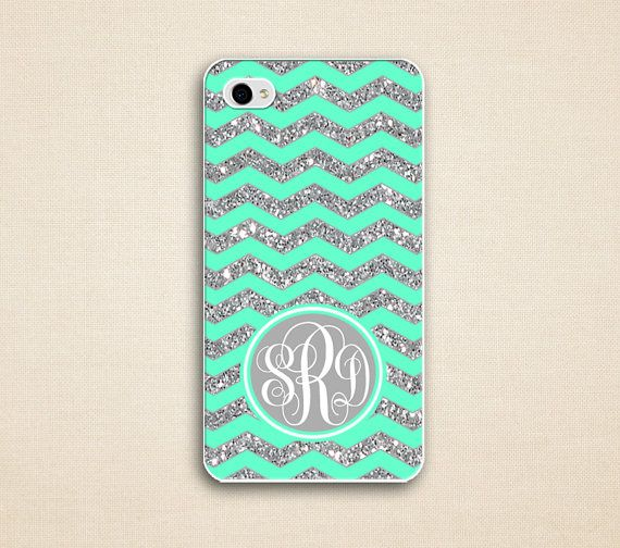 Glitter chevron IPhone 4 case ( Not Actual Glitter ) - iphone 4 case, Iphone 4s Case - mint green monogrammed case - gray monogram