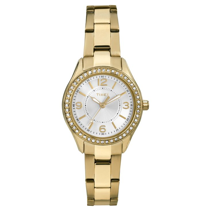 Women's Timex Watch with Crystal Bezel - Gold TW2P80100JT