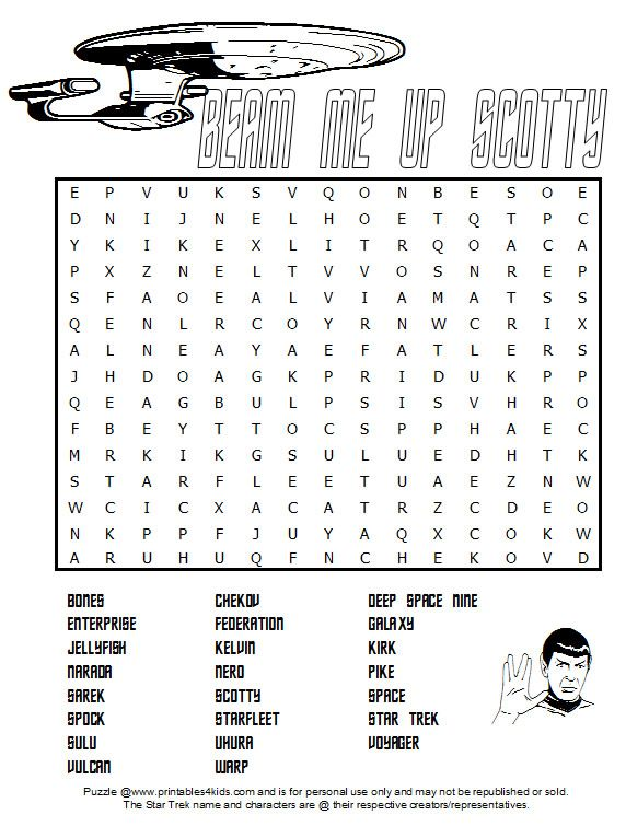 Star Trek Word Search : Printables for Kids – free word search puzzles, coloring pages, and other activities