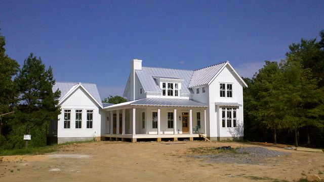 Chamfered columns installed columns and exterior for Industrial farmhouse exterior