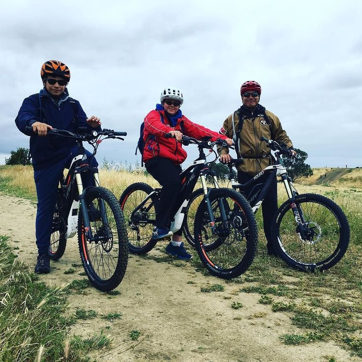Instagram picutre by @motostrano: A couple of lucky young kids with their even luckier father out on the trail with three Haibike AMT ebikes #ebike #haibike #xduro #sduro #emtb #mtb - Shop E-Bikes at ElectricBikeCity.com (Use coupon PINTEREST for 10% off!)