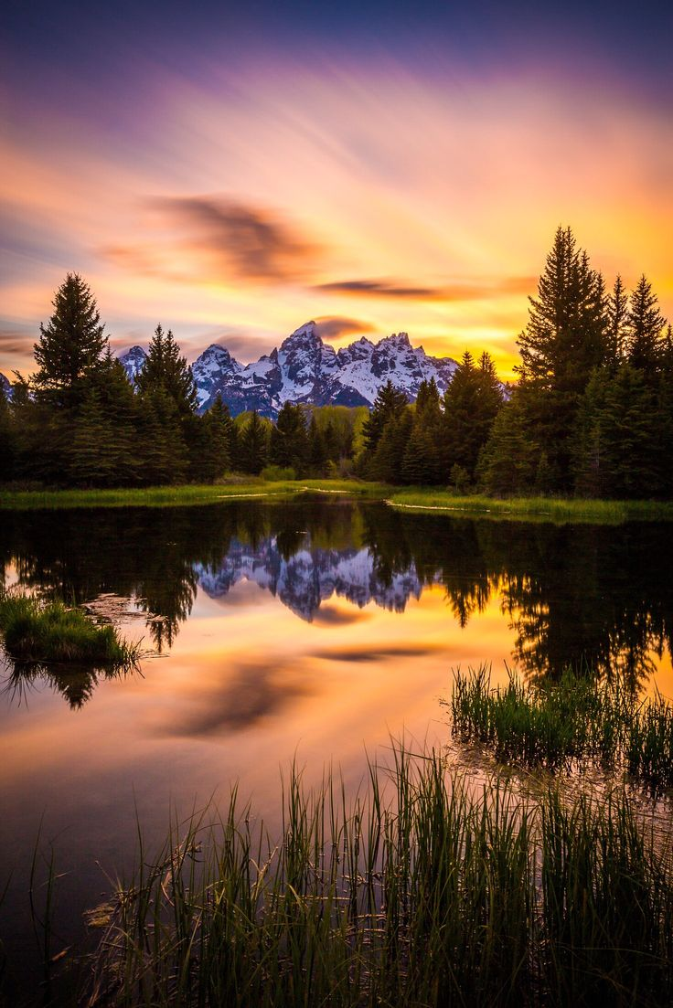 Teton sunset at Schwabacher's by Jordan Edgcomb ~ Grand Teton National Park