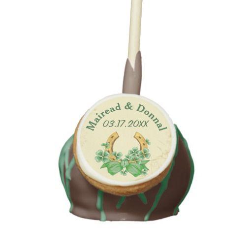 Shamrocks and Gold Irish Wedding Cake Pops. Customize text.
