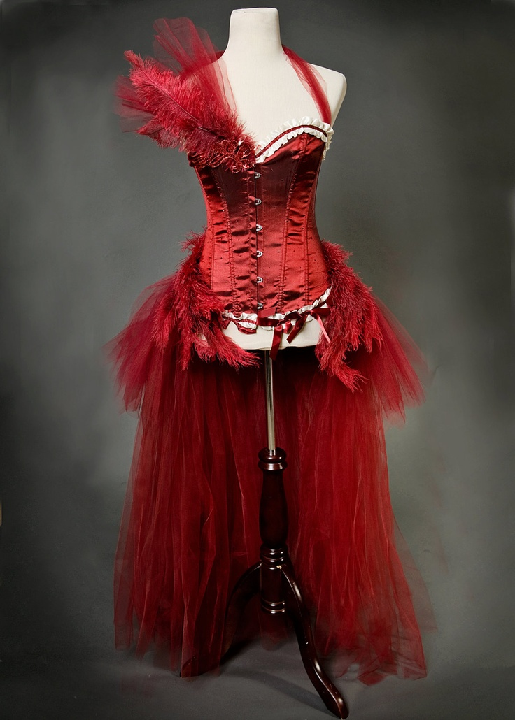 Scarlett : Burlesque Las Vegas Showgirl Hand-Dyed TULLE Corset Costume