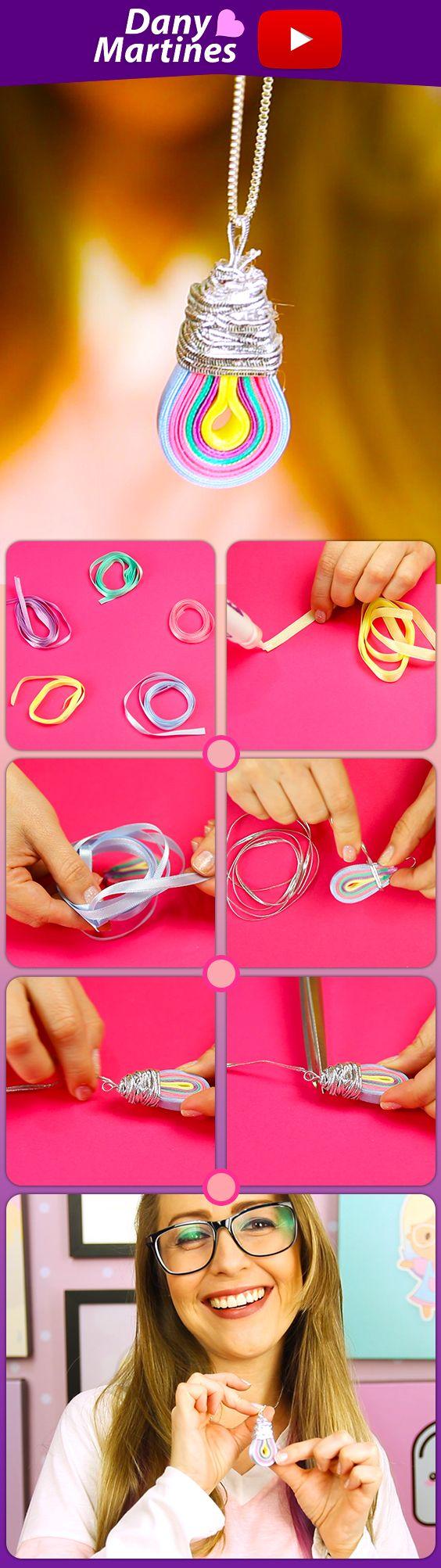 Faça você mesmo um lindo pingente de Lâmpada de arco íris para usar por ai, fica lindo! DIY, Do it Yourself