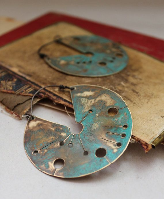 crop circle shield earrings with green patina hand by nearlylost, $55.00