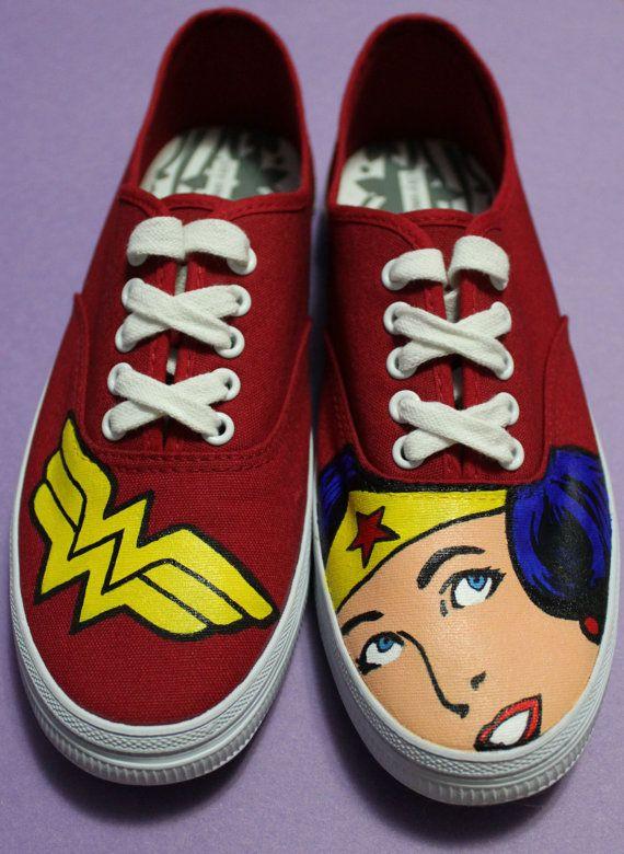Custom Painted Wonder Woman Shoes by ArtofaSilentBee on Etsy, $60.00