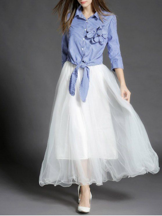 Stripe Knot Shirt and Tulle Maxi Skirt - BLUE/WHITE L