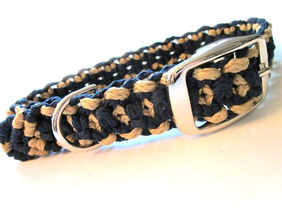 For 10% off entire shop - use Coupon Code PIN10 - Navy and Beige/Gold Medium Dog Macramé Collar by Balilu, $12.00