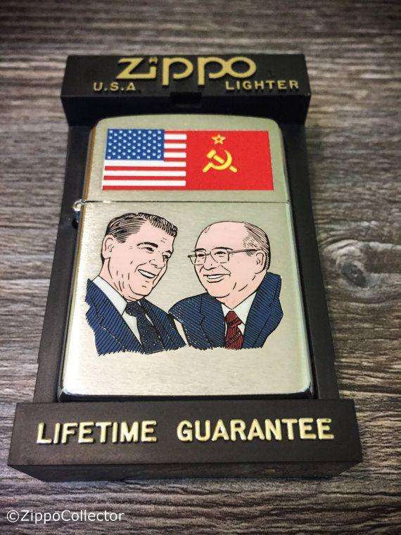 1989 ronald reagan mikhail gorbachev zippo by zippocollector