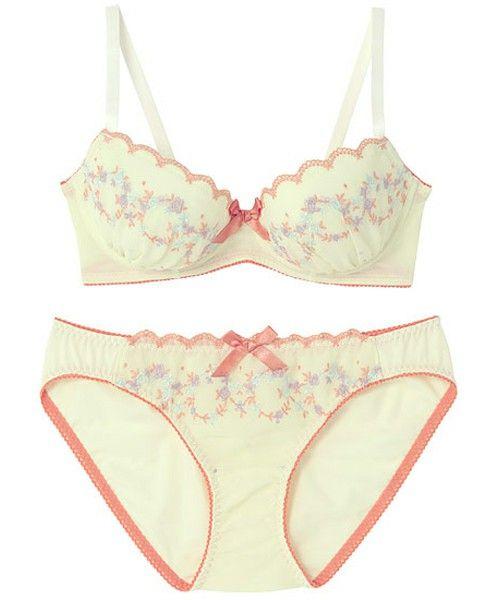 AMPHI Ladies'(アンフィ)の【¥1,900+税 セット】フラワー刺繍 ブラ&ショーツ(ブラ&ショーツ)|クリーム