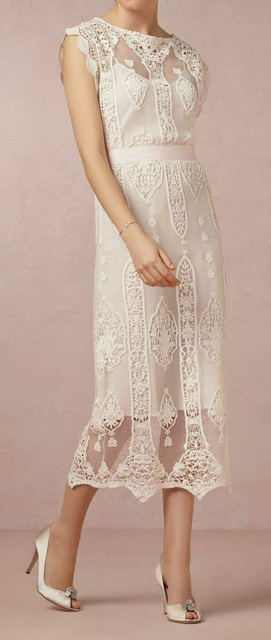 Not strapless but I love the shape and the lace. You would have to wear heels for this length.