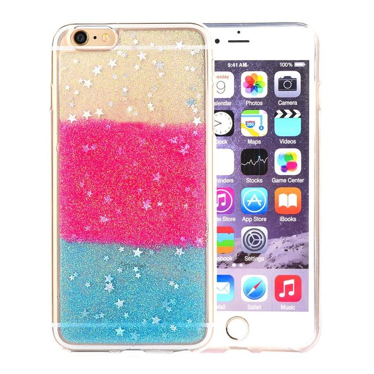 iPhone 6 Case,iPhone 6 4.7-inch Case,Welity Luxury Chic Art Ultra Slim Cute Colorful Red and Blue Color Glitter Bling Sparkling Stars Shell Durable Crystal Snap On Soft Silicone Back Case Cover for Apple iPhone 6 4.7-inch Verizon/AT&T/Sprint/T-Mobile. Spe