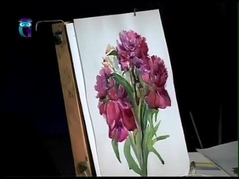 Уроки рисования (№ 45) акварелью. Рисуем пионы — Яндекс.Видео