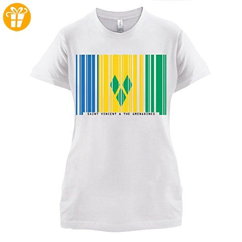 Saint Vincent and the Grenadines / St. Vincent und die Grenadinen Barcode Flagge - Damen T-Shirt - Weiß - L (*Partner-Link)
